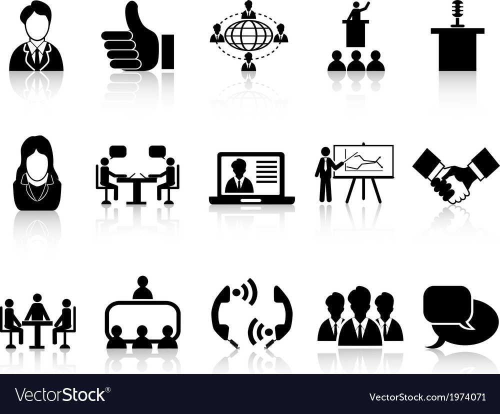 Business meeting icons set vector | Price: 1 Credit (USD $1)