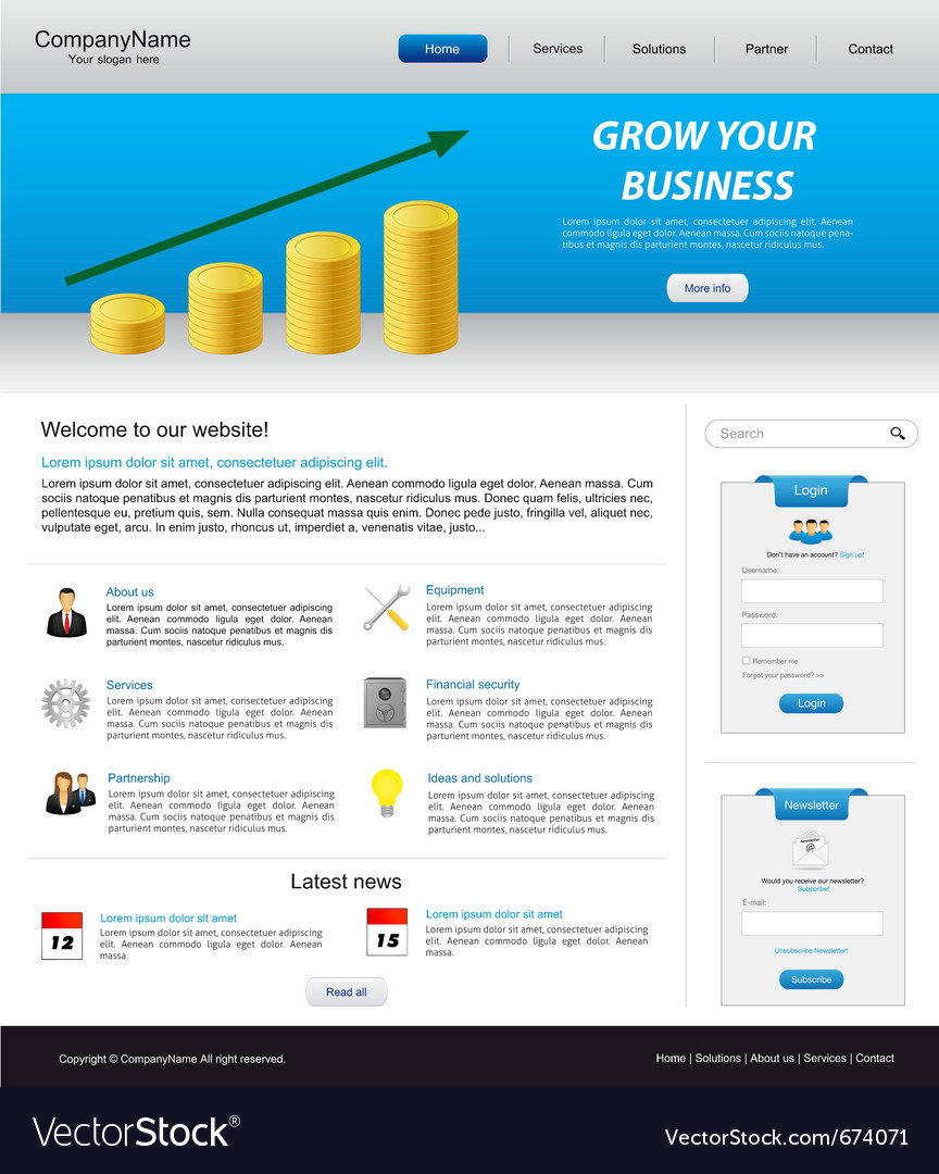 Business website template vector | Price: 3 Credit (USD $3)