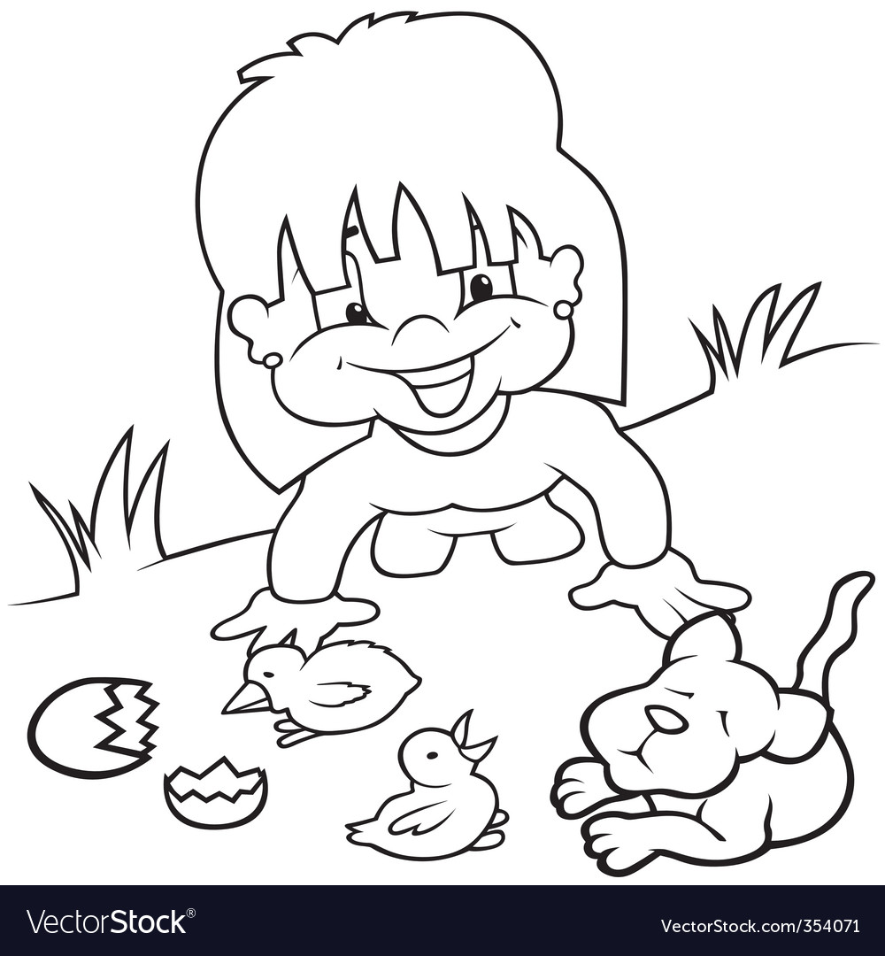 Girl and young animals vector | Price: 1 Credit (USD $1)