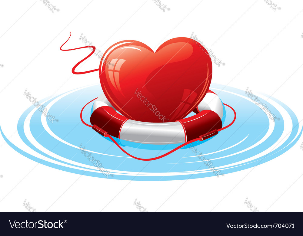 Heart in the lifebuoy concept image vector | Price: 1 Credit (USD $1)