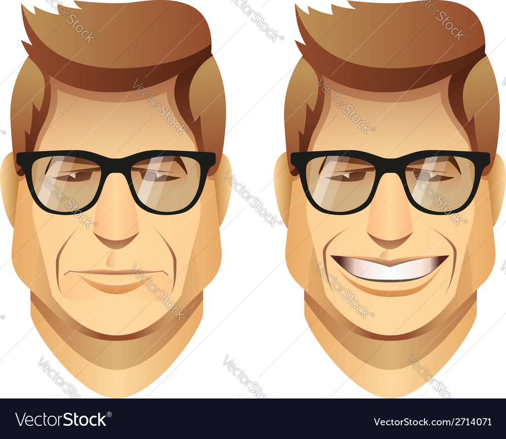 Male faces with glasses vector | Price: 1 Credit (USD $1)