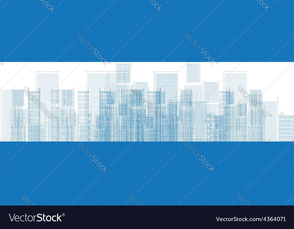 Outline city skyscrapers in blue color vector   Price: 1 Credit (USD $1)