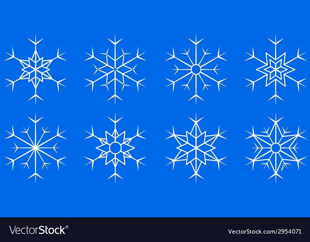 Snowflake set on blue background vector | Price: 1 Credit (USD $1)