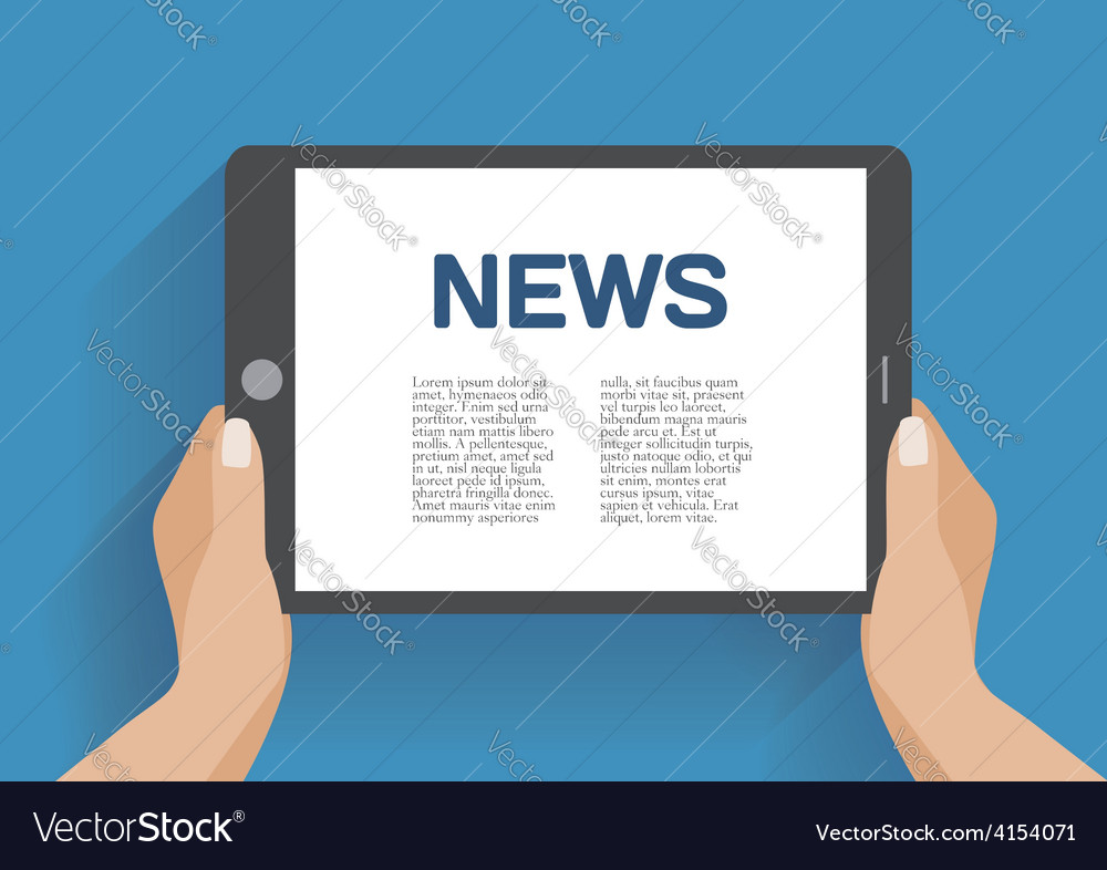 Tablet computer with news icon on the screen vector | Price: 1 Credit (USD $1)