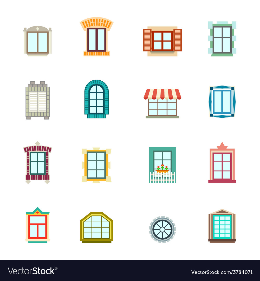 Vintage windows set flat exterior icons vector | Price: 1 Credit (USD $1)