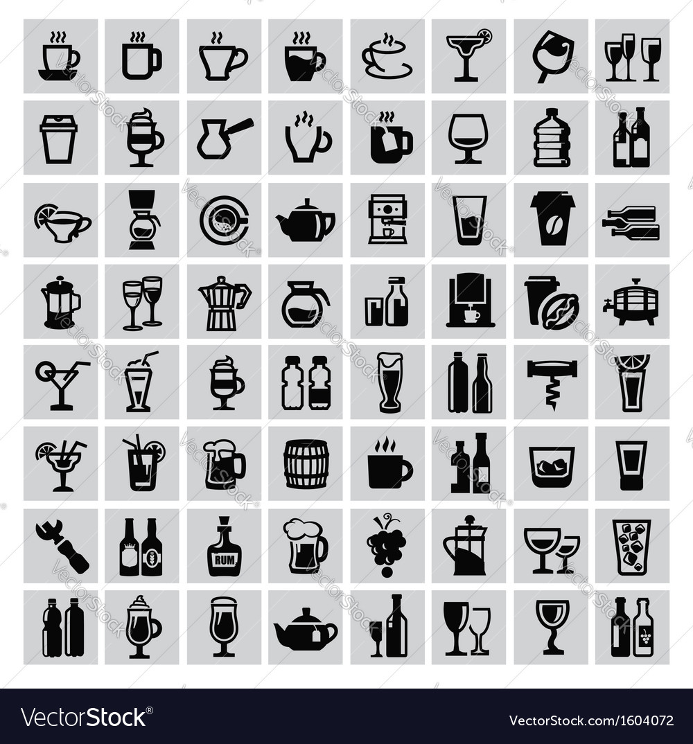 Beverages icons vector | Price: 1 Credit (USD $1)