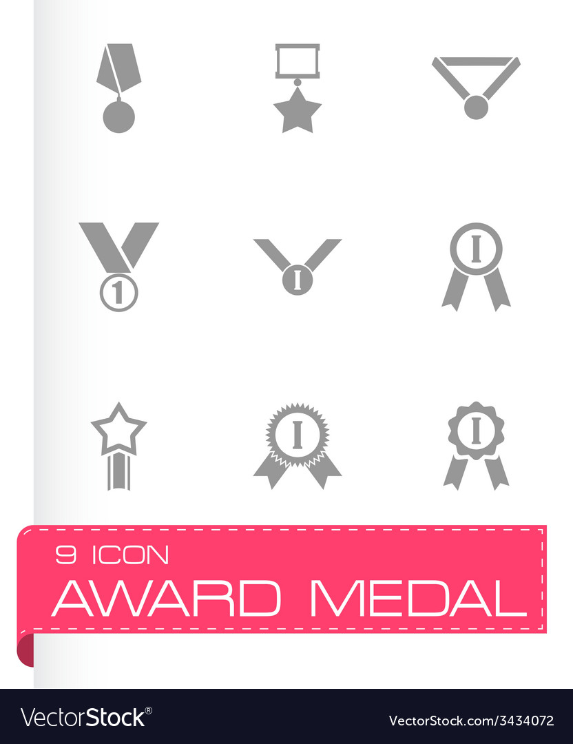 Black award medal icon set vector | Price: 1 Credit (USD $1)