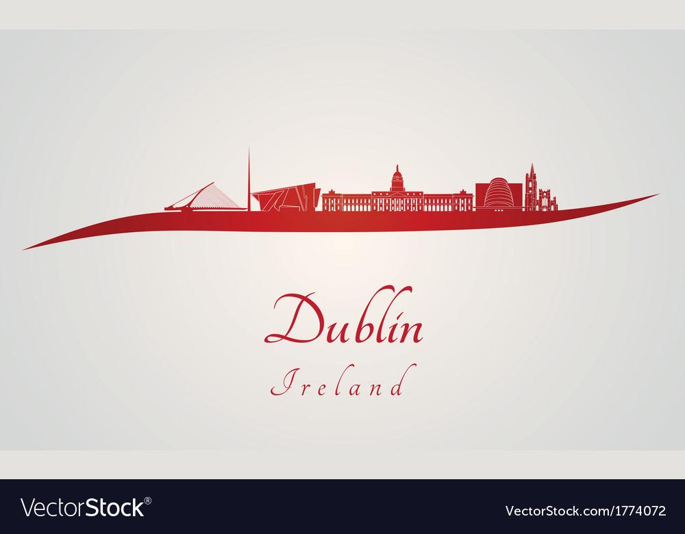 Dublin skyline in red vector   Price: 1 Credit (USD $1)