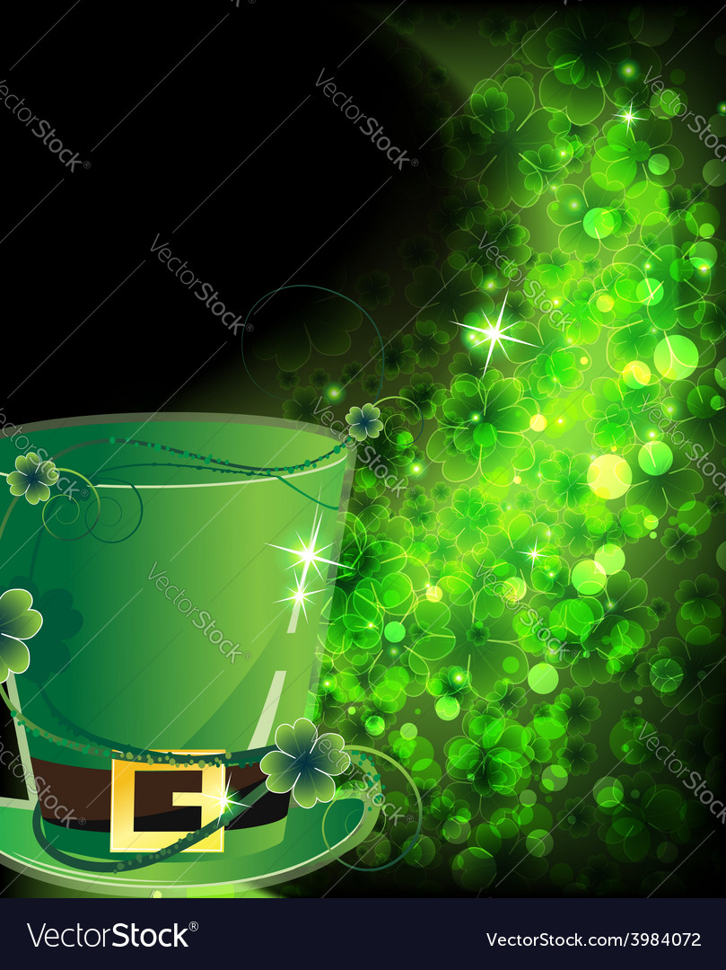 Green hat and shining clover vector | Price: 1 Credit (USD $1)
