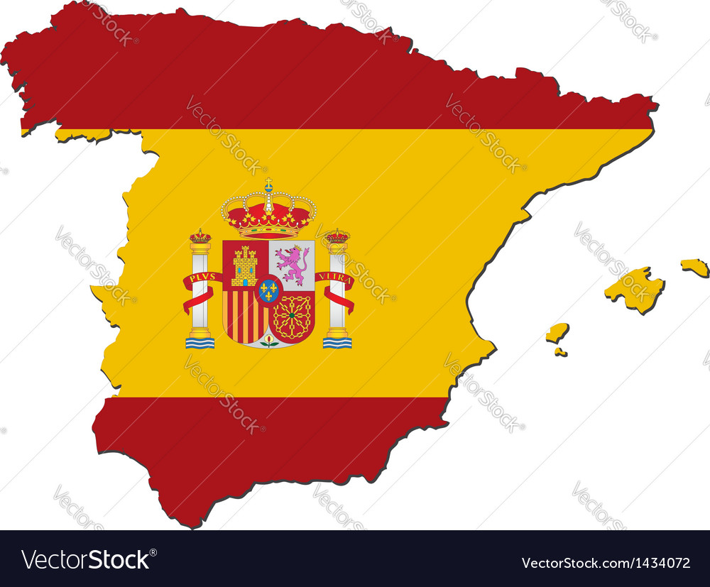 Map of spain with national flag vector | Price: 1 Credit (USD $1)