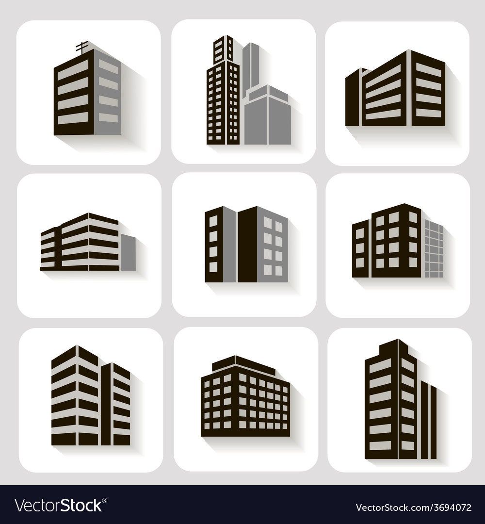 Set of dimensional buildings icons in grey and vector | Price: 1 Credit (USD $1)