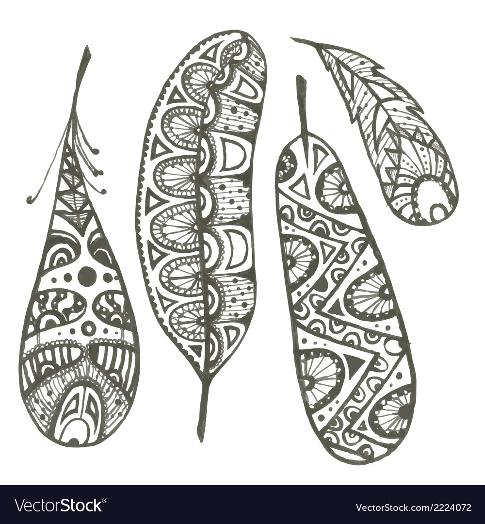 Set of sketch decorative feather vector | Price: 1 Credit (USD $1)