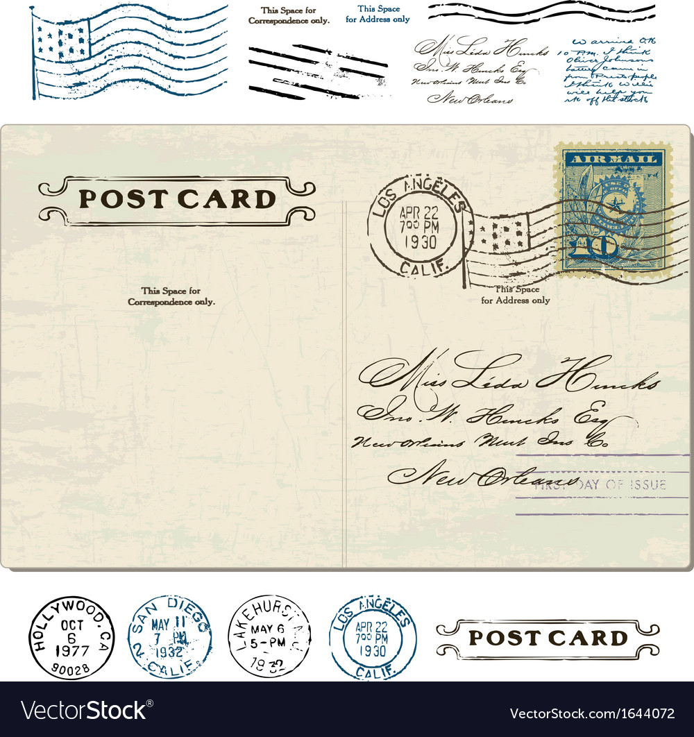 Vintage stamp set vector | Price: 1 Credit (USD $1)