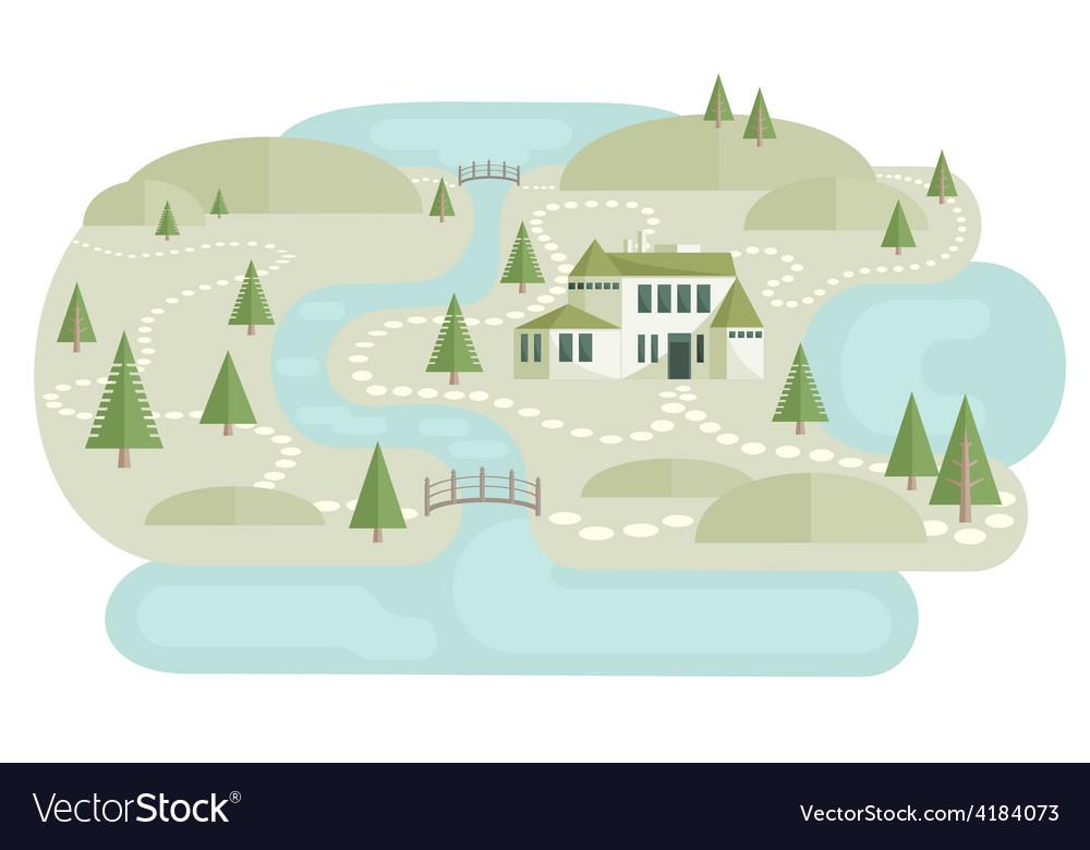 Alone villa in landscape vector | Price: 1 Credit (USD $1)
