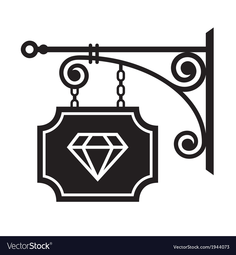Ancient street signboard of jeweler vector | Price: 1 Credit (USD $1)