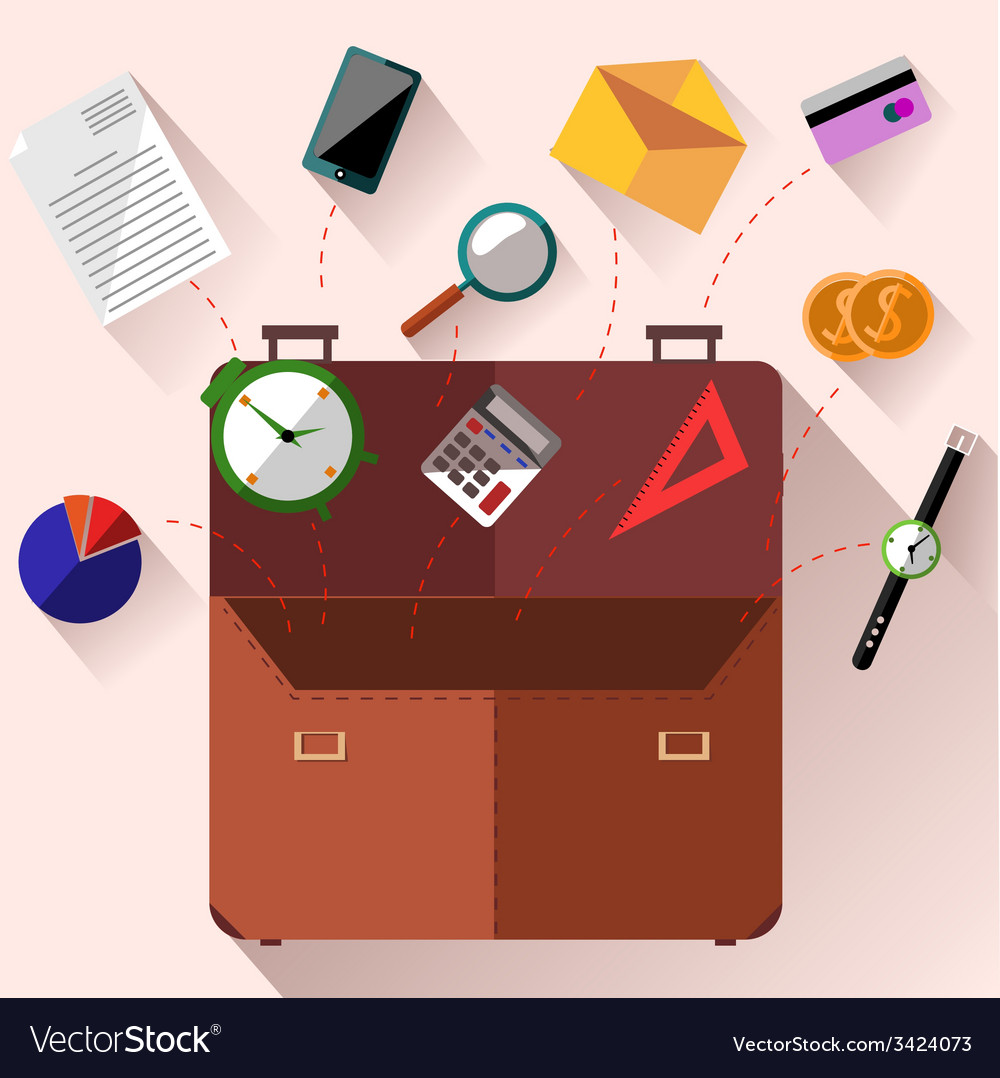Briefcase with office accessories concept vector | Price: 1 Credit (USD $1)