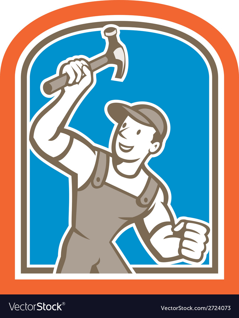 Builder carpenter holding hammer shield cartoon vector | Price: 1 Credit (USD $1)
