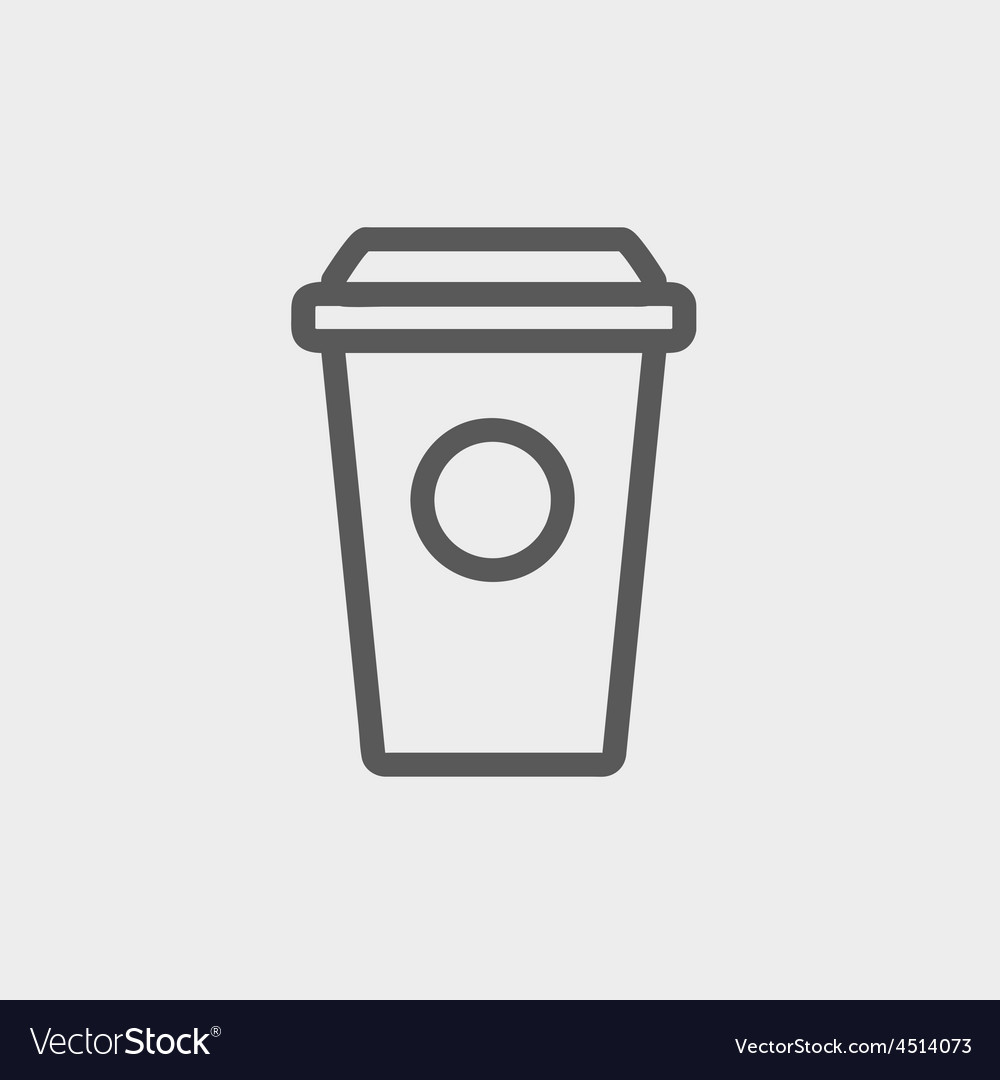 Disposable coffee cup thin line icon vector   Price: 1 Credit (USD $1)