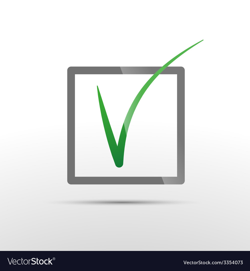 Green check mark in box conceptual icon of vector | Price: 1 Credit (USD $1)