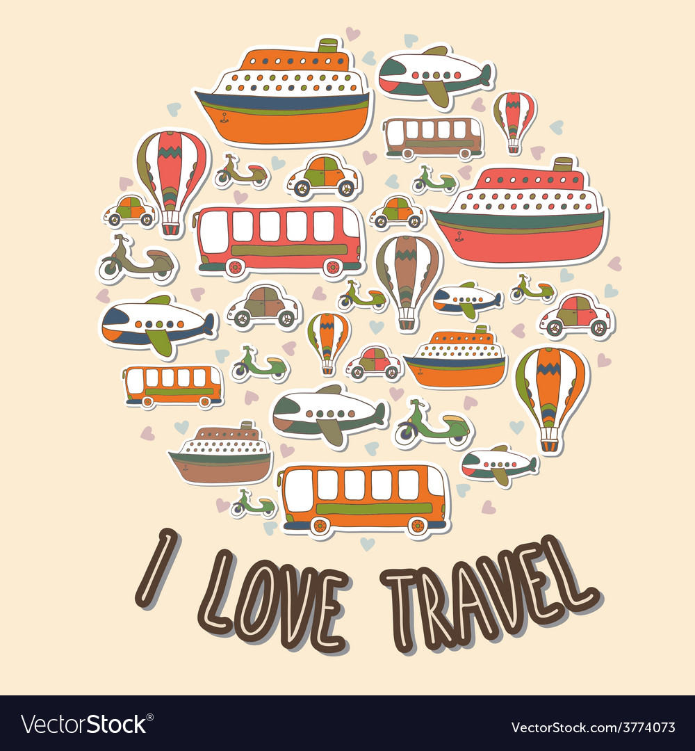 I love travel cartoon transport in the circle vector | Price: 1 Credit (USD $1)