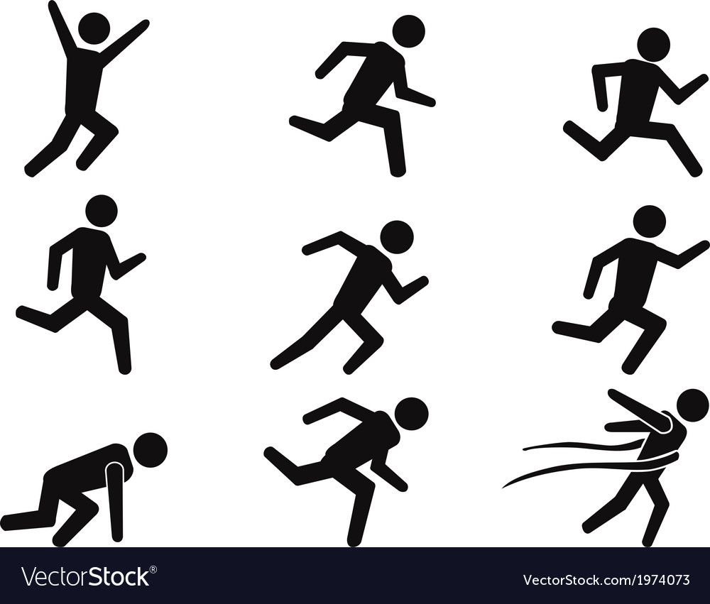 Runner stick figure icons set vector | Price: 1 Credit (USD $1)