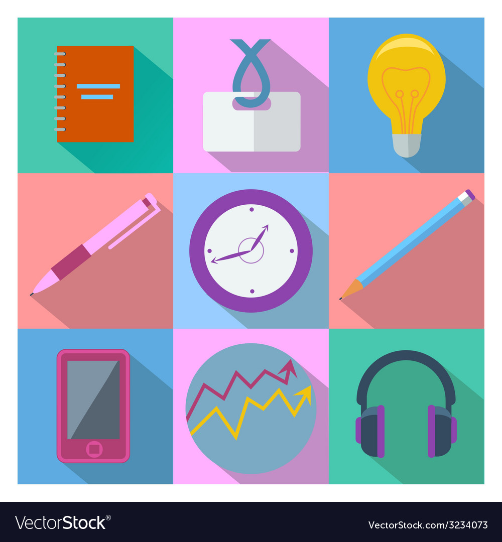 Set of 9 business and office equipment icons vector | Price: 1 Credit (USD $1)