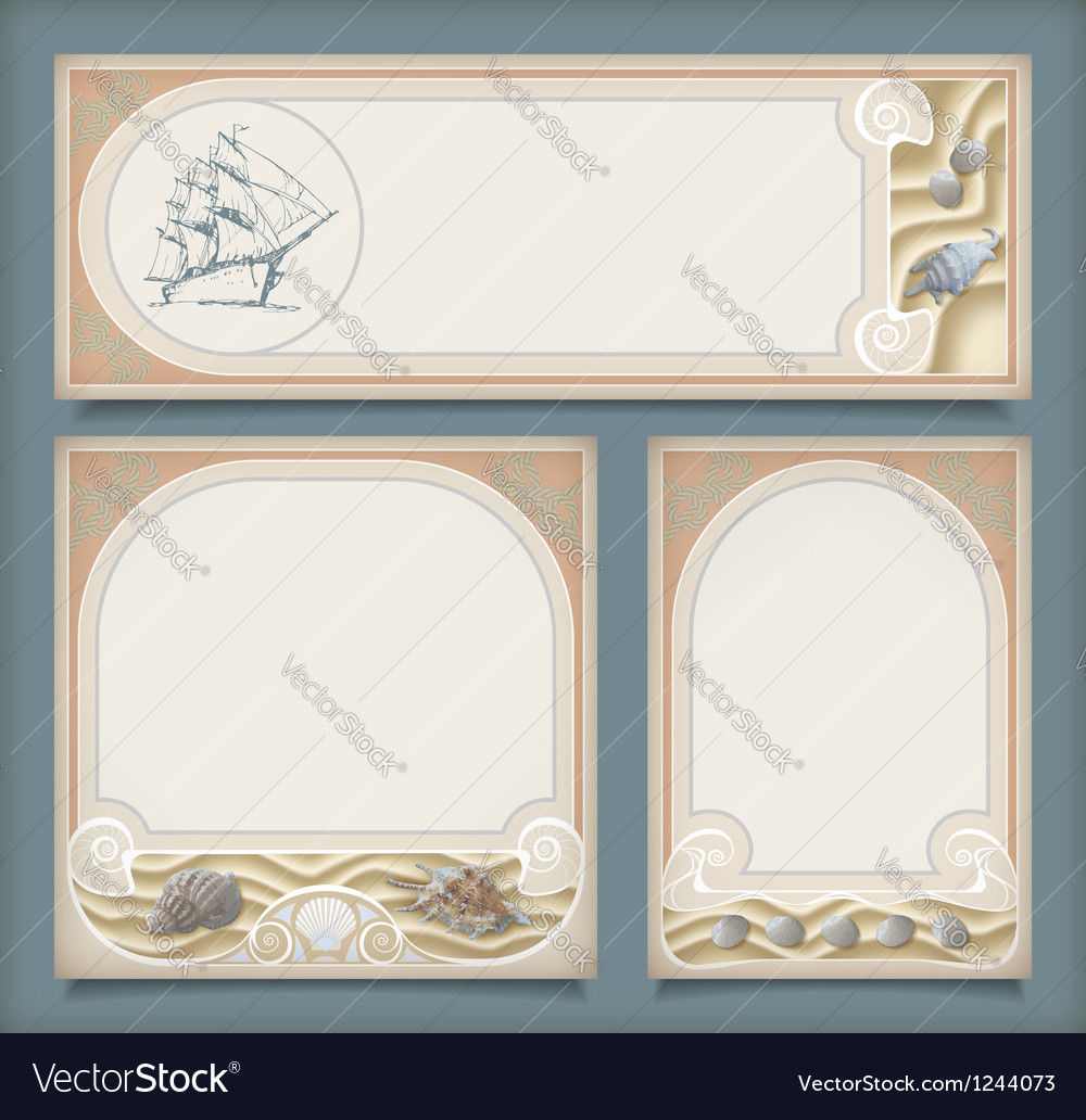 Set of sea vintage vacation frame banners labels vector | Price: 1 Credit (USD $1)