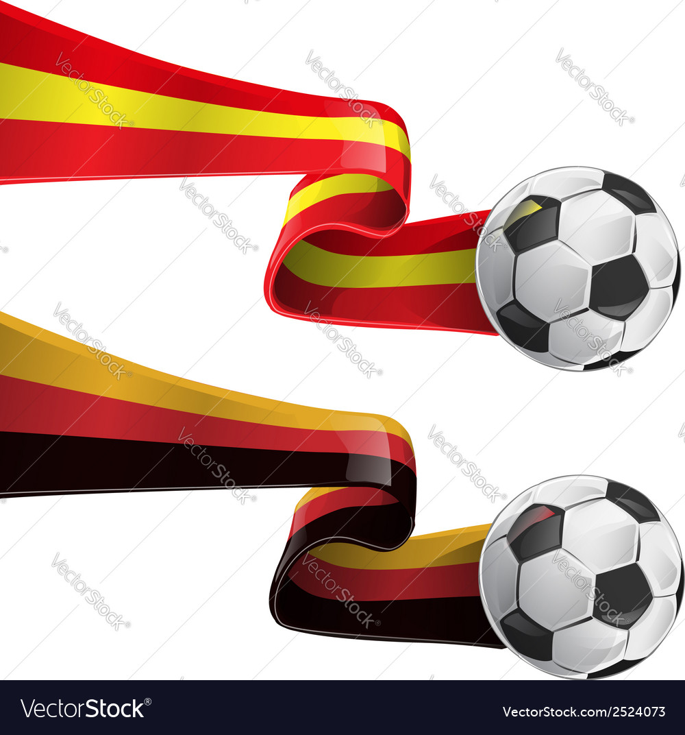 Spain and germany flag with soccer ball vector | Price: 1 Credit (USD $1)