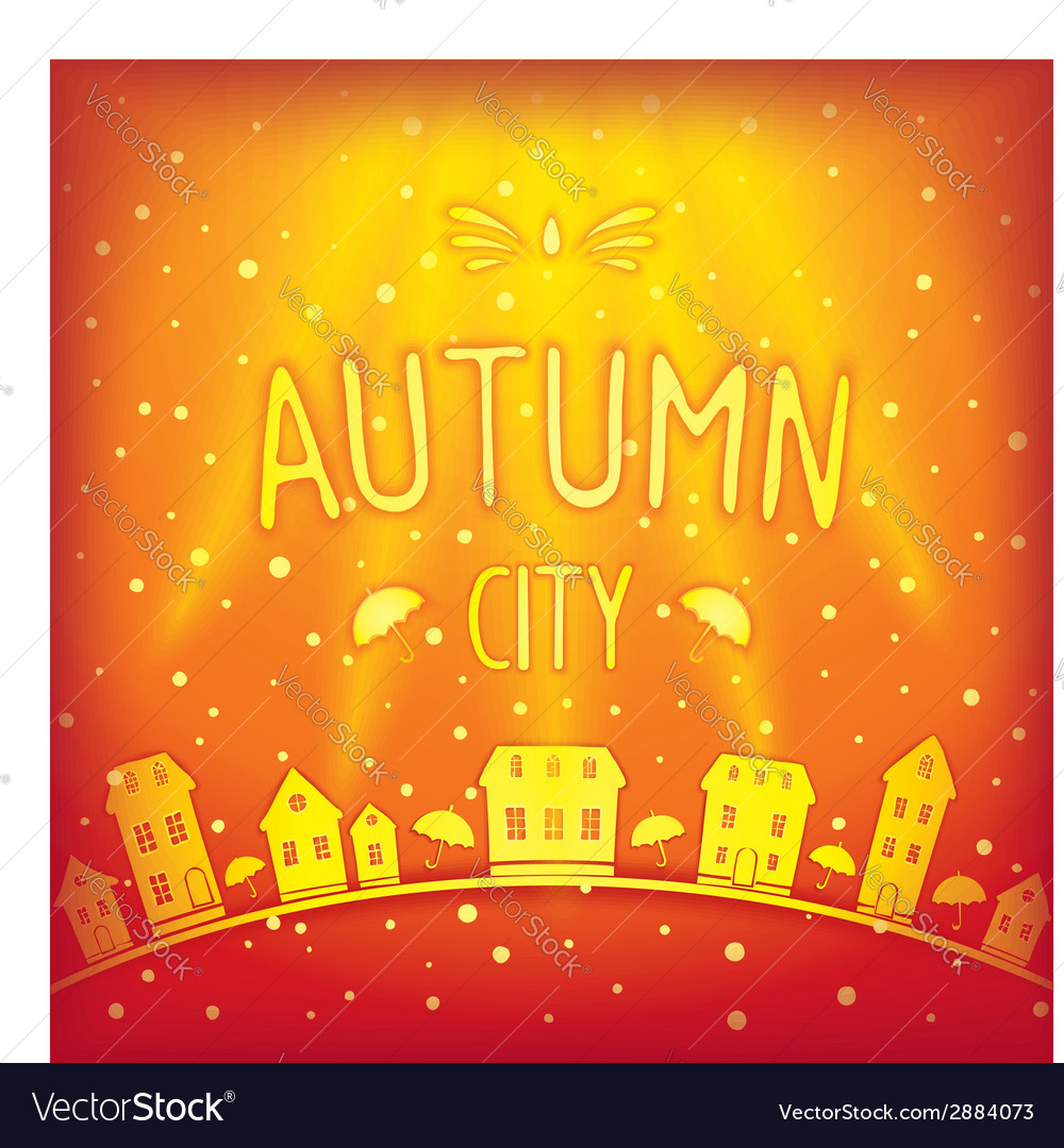 Sunny sparkling autumn city vector | Price: 1 Credit (USD $1)