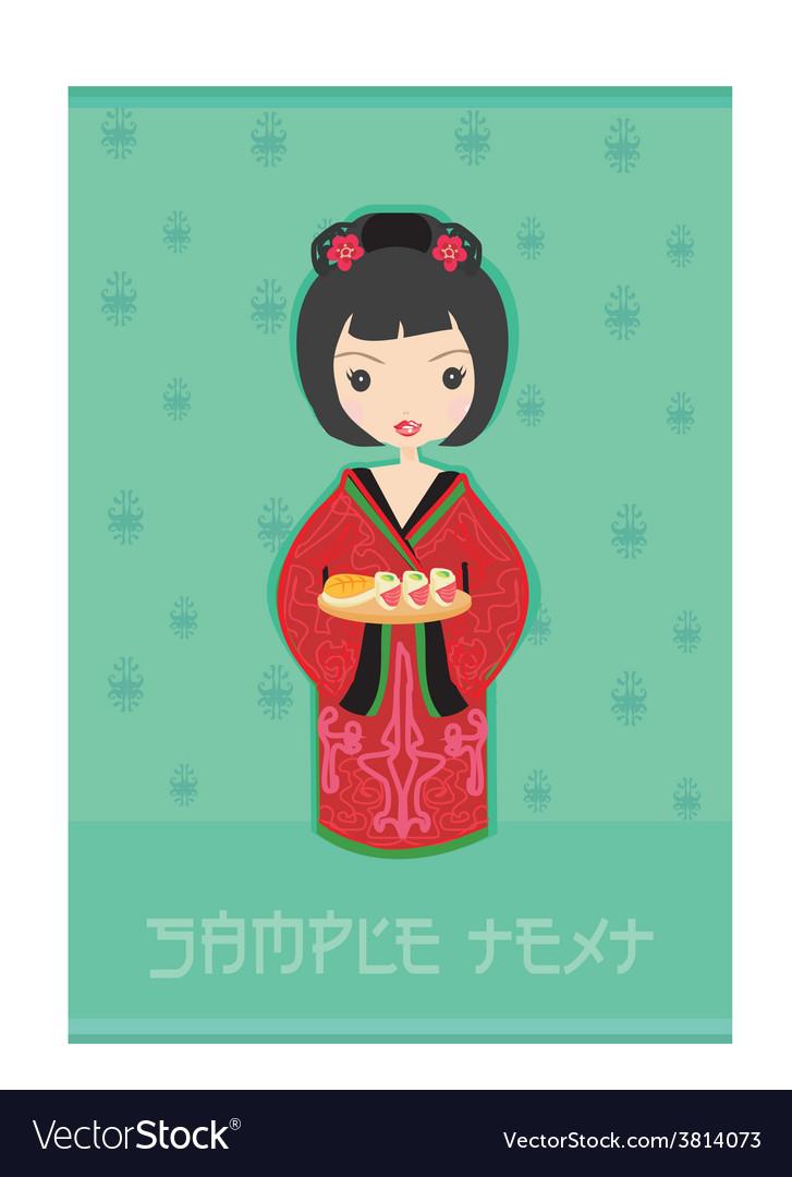 Sweet asian girl enjoy sushi vector | Price: 1 Credit (USD $1)