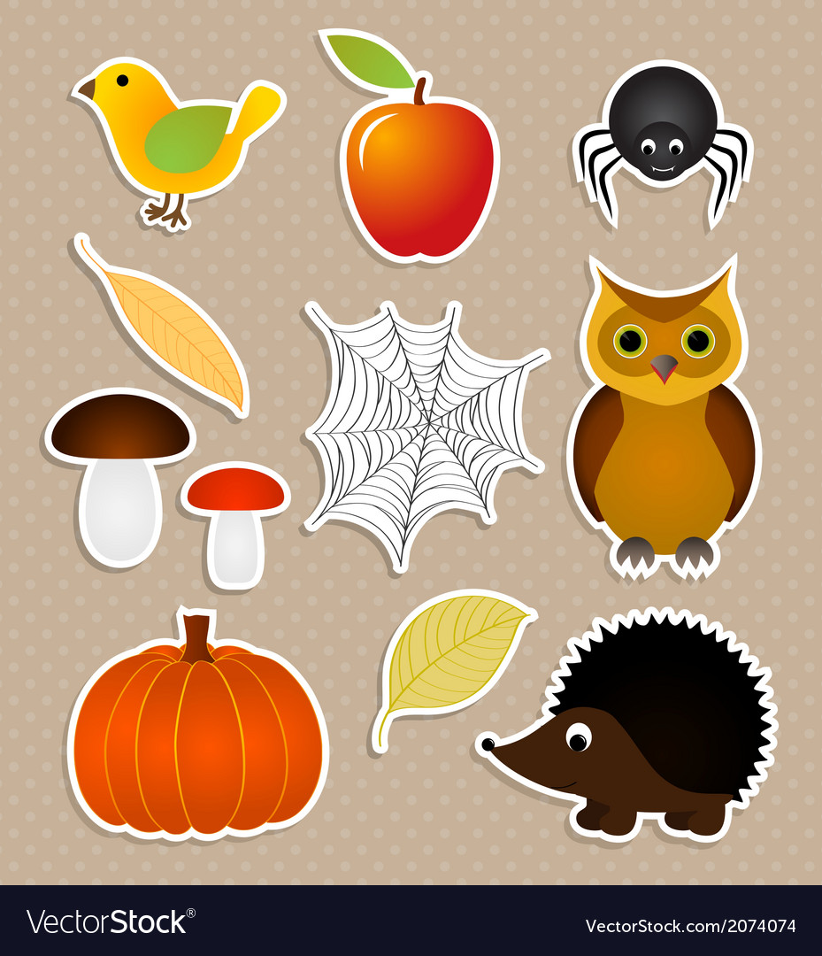 Autumn nature stickers set vector | Price: 1 Credit (USD $1)