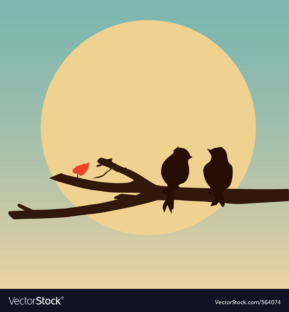 Birds sitting on a branch vector | Price: 1 Credit (USD $1)
