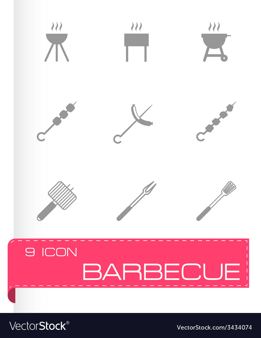 Black barbecue icon set vector | Price: 1 Credit (USD $1)