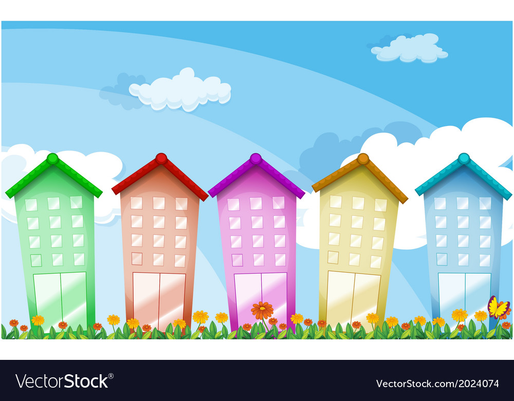 Colorful tall buildings vector | Price: 1 Credit (USD $1)