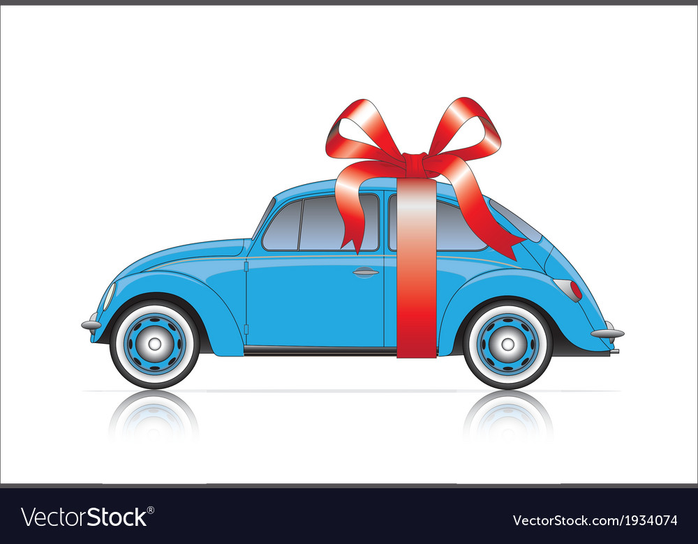 Compact blue car with ribbon vector | Price: 1 Credit (USD $1)