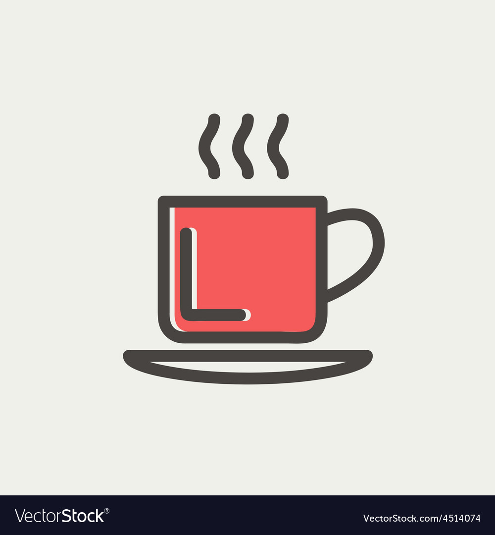 Cup of hot coffee thin line icon vector | Price: 1 Credit (USD $1)