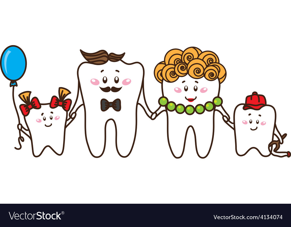 The family of the teeth on white background vector | Price: 1 Credit (USD $1)