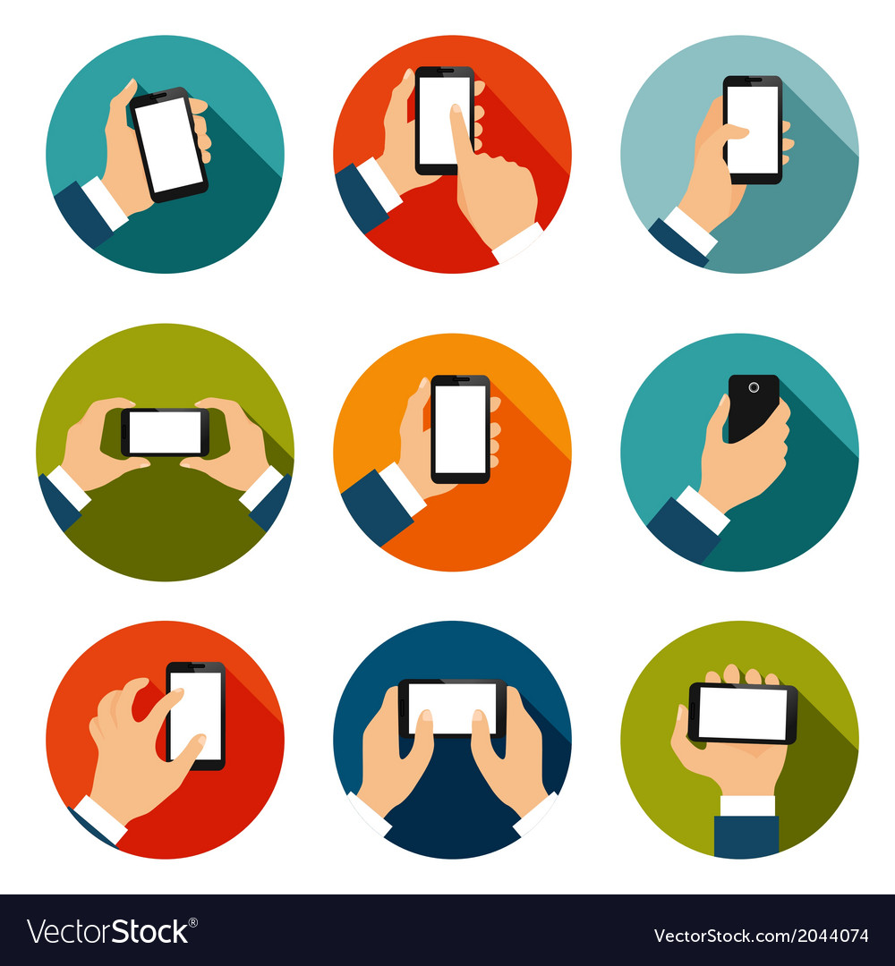 Hands with phones icons set vector | Price: 1 Credit (USD $1)