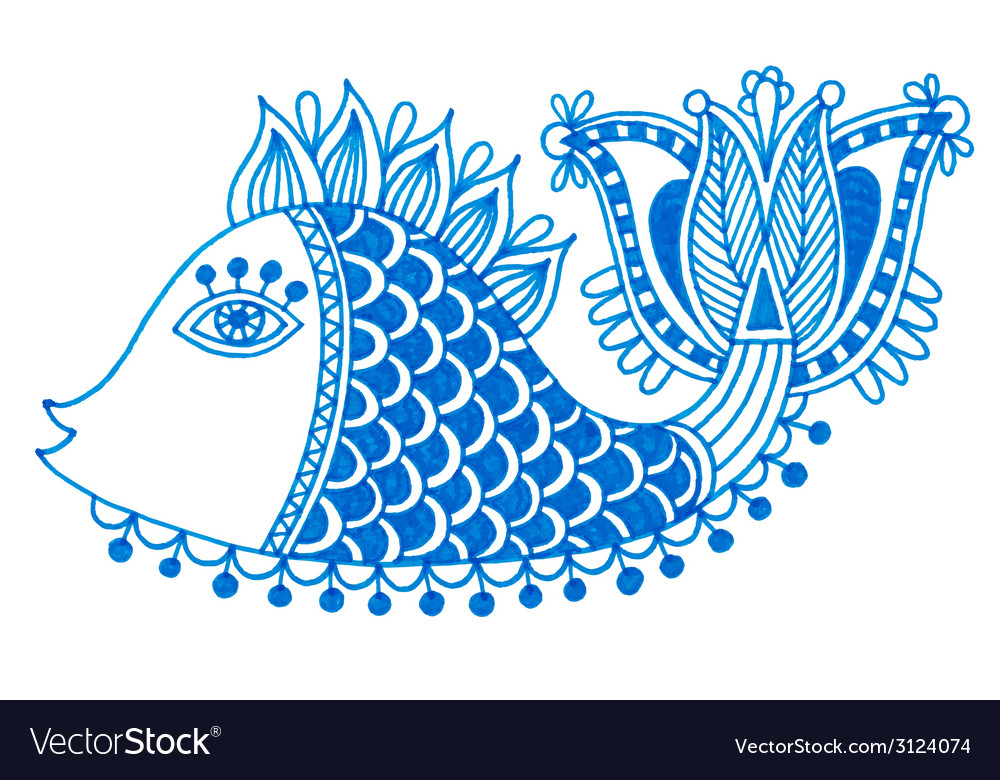 Marker drawing of decorative doodle fish vector | Price: 1 Credit (USD $1)