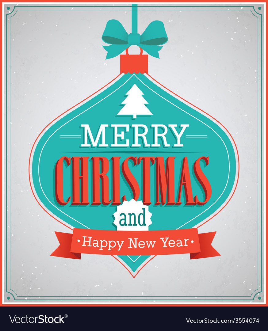 Merry christmas paper card with hanging toy vector