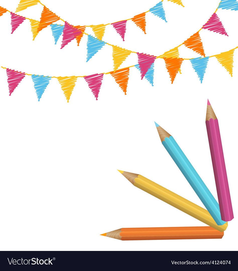 Pencils with multicolored buntings isolated on vector