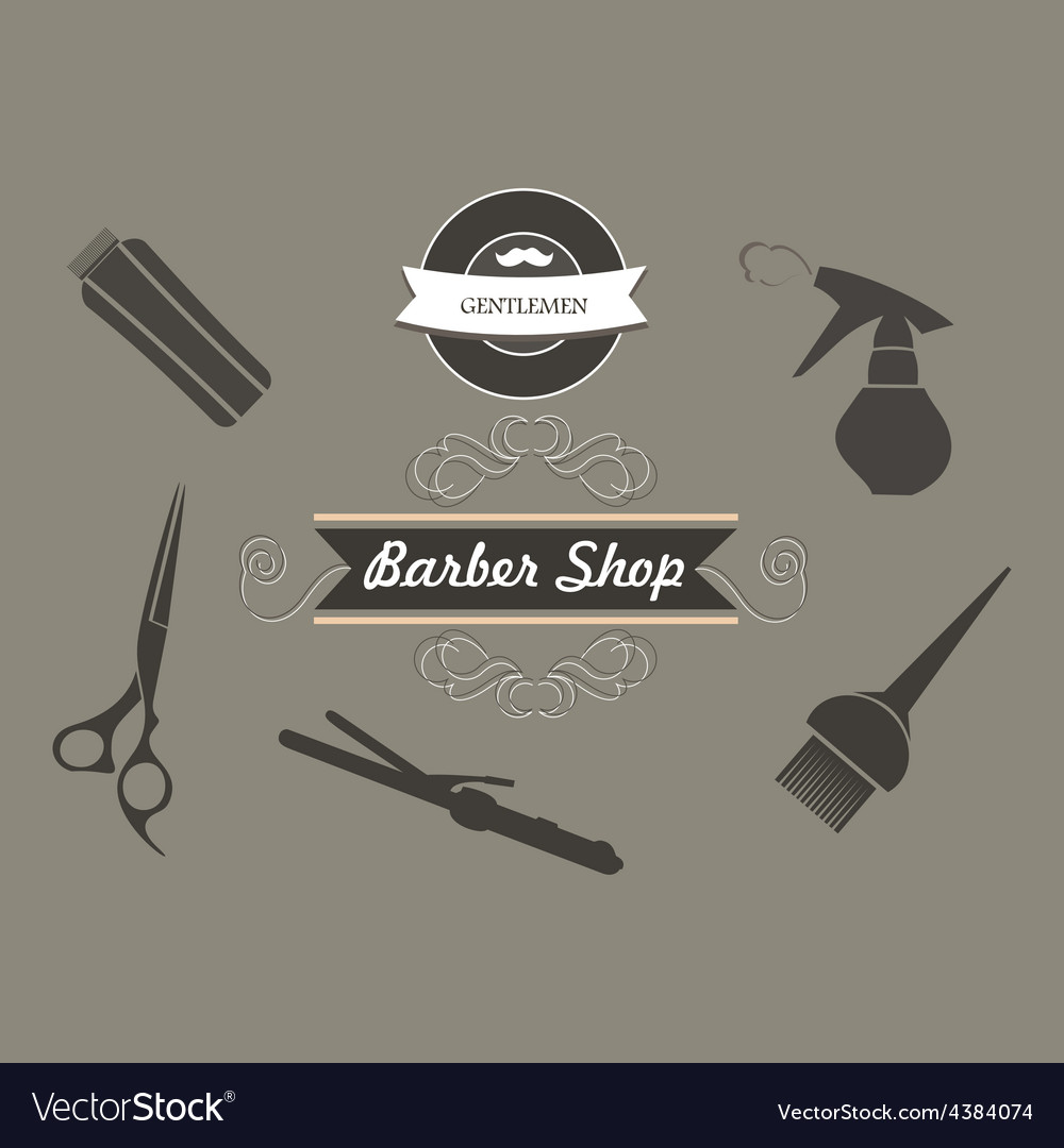 Set of retro barber shop labels logo vector | Price: 1 Credit (USD $1)