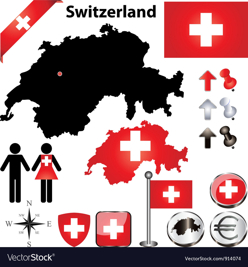 Switzerland map small vector | Price: 1 Credit (USD $1)