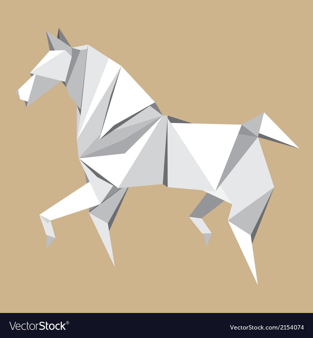 White paper horse origami vector | Price: 1 Credit (USD $1)