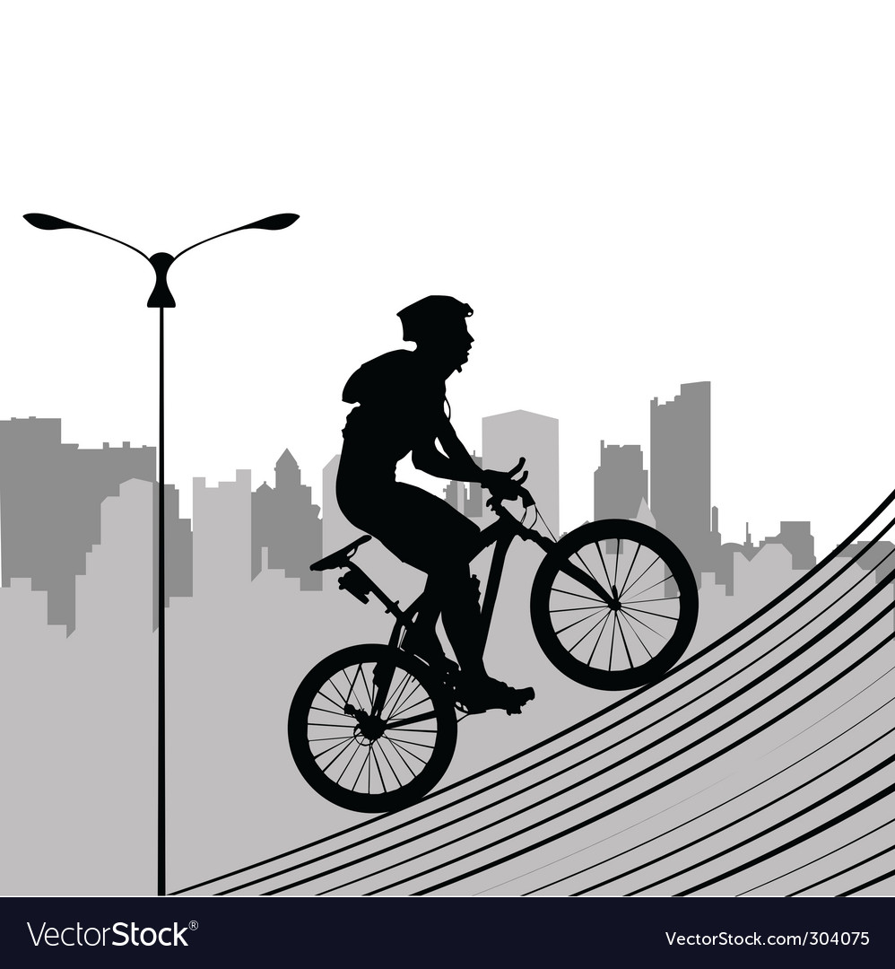 Bike and city vector | Price: 1 Credit (USD $1)
