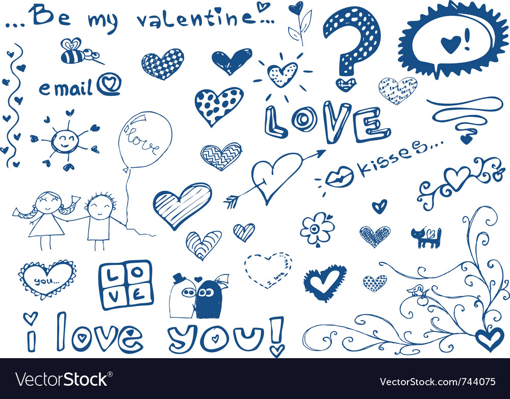 Freehand elements with love doodles set vector | Price: 1 Credit (USD $1)