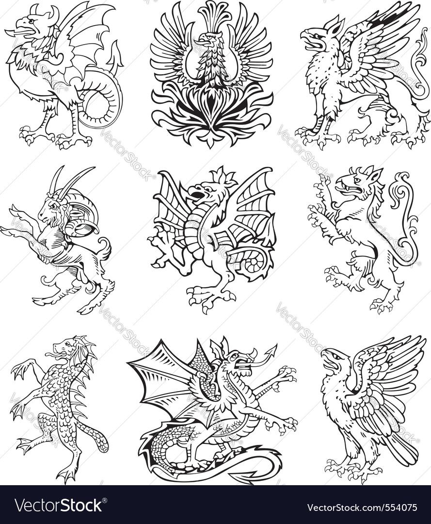 Heraldic monsters vol ii vector | Price: 1 Credit (USD $1)