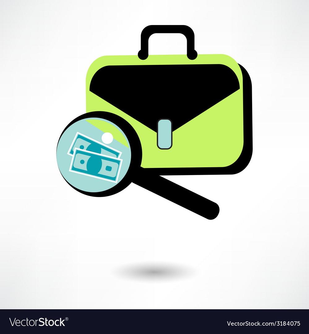 Icon business briefcase black with clipboard pen vector   Price: 1 Credit (USD $1)