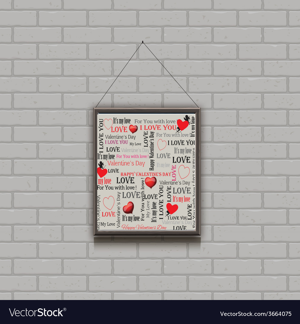 Painting on a brick wall valentines day vector | Price: 1 Credit (USD $1)