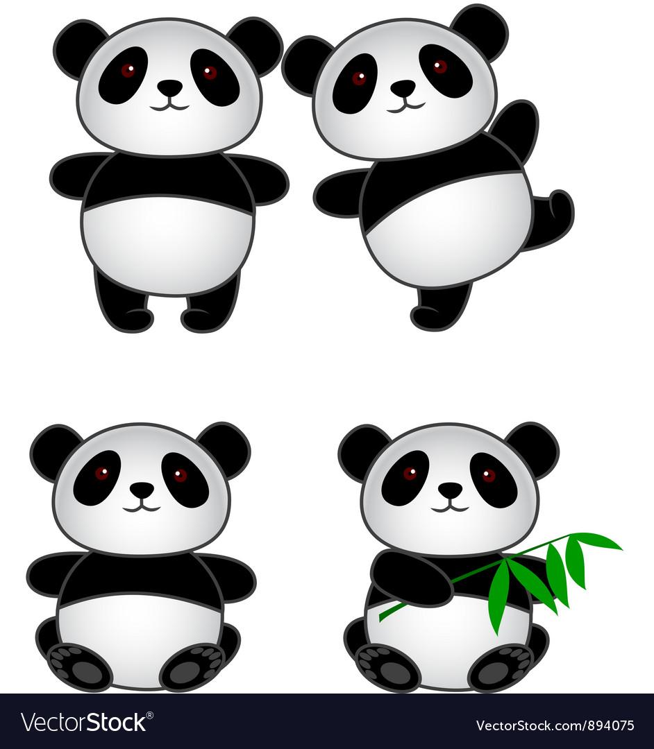 Panda cartoon group vector | Price: 3 Credit (USD $3)